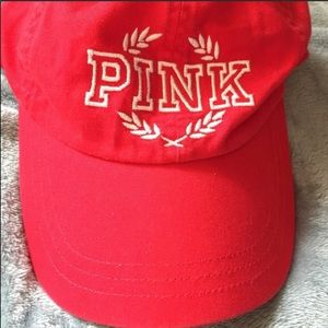 VICTORIAS SECRET PINK BASEBALL HAT - RED